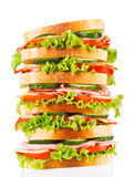 Big sandwich with bacon and vegetables Royalty Free Stock Photos