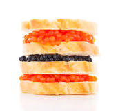 Big sandwich with black and red caviar Royalty Free Stock Photo