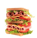 Big sandwich with fresh vegetables. Royalty Free Stock Photos