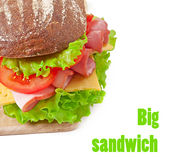 Big sandwich with ham Stock Images