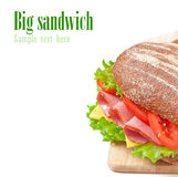 Big sandwich with ham Royalty Free Stock Image