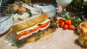 Big sandwich with ham, cheese and vegetables Stock Photos