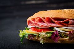 Big sandwich with ham, salami, tomato, cucumber royalty free stock image