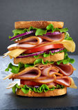 Big sandwich with ham and vegetables Stock Photography