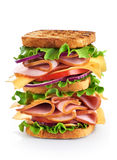 Big sandwich with ham and vegetables Stock Images