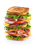 Big sandwich with ham and vegetables Royalty Free Stock Photos