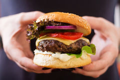 Big sandwich - hamburger burger with beef, cheese, tomato and tartar sauce Royalty Free Stock Image