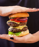 Big sandwich - hamburger burger with beef, cheese, tomato and tartar sauce Stock Photography