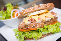 Big sandwich for lunch with parma ham, egg, cheese Royalty Free Stock Photography