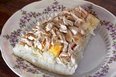 Big sandwich with meat. Hearty breakfast stock image