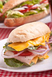 Big sandwich on a plate Stock Photos