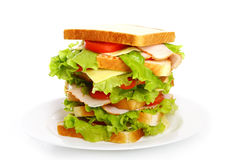 Big sandwich on the plate Royalty Free Stock Photo