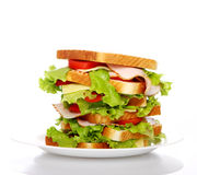 Big sandwich on the plate Stock Image
