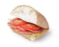 Big sandwich with salami cheese and tomato Royalty Free Stock Images