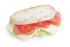 Big sandwich with salami and cheese on white bread Stock Photography