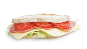 Big sandwich with salami and cheese on white bread Stock Photos