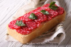 Big sandwich with salami and parsley horizontal Royalty Free Stock Photography