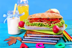Big sandwich for school  breakfast Royalty Free Stock Images