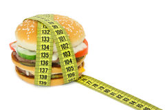 Big sandwich with tape measure Royalty Free Stock Images