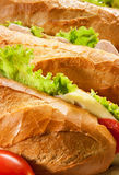Big sandwiches. Three big sandwiches with chicken and with cheese and tomatoes Stock Photography