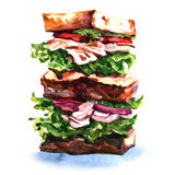 Big sandwiches with meet, vegetables and salad on Stock Photo
