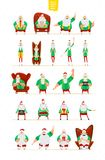 Big Santa Claus characters set for your design stock illustration