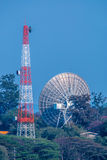 Big Satellite dish and Antenna Tower on ground station Royalty Free Stock Photo