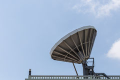 Big satellite dish on the roof. With blue sky background Royalty Free Stock Photography