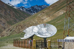 Big satellite dishes antena at Rangdum, Royalty Free Stock Image