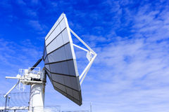 Big satellite stay on top of mountain.Blue satellite of Greenla stock photography