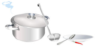Big saucepan and plate with spoon Royalty Free Stock Images