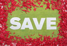 Big save sign. A big white SAVE sign Royalty Free Stock Image