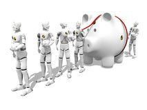 Big Savings. Dummy with a giant piggy bank in a lone to the bank over white background Stock Photos
