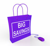 Big Savings Bag Represents Online Discounts and Reductions in Pr Royalty Free Stock Images