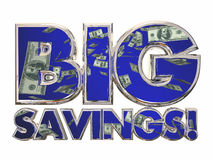 Big Savings Money Sale Discount Deal Offer. Big Savings Money 3d Words Sale Discount Deal Offer Royalty Free Stock Photos
