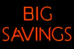 Big Savings neon sign Royalty Free Stock Photo