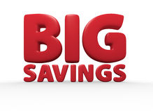 Big Savings. Red 3d rendered big savings text Royalty Free Stock Photography