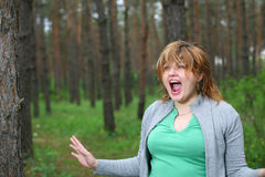Big scare in the woods Royalty Free Stock Image