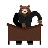 Big scary bear boss breaks table. Aggressive chef yells. Office Stock Photo