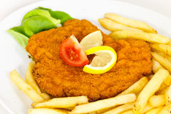 Big Schnitzel-Escalope with Salad Royalty Free Stock Photography