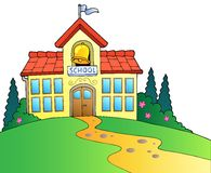 Big school building. Illustration Stock Photography