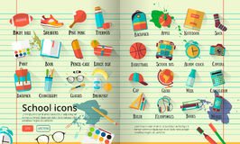 Big  school  illustration on line notebook paper. Education icons set. Back to school creative background with teenager obje Royalty Free Stock Photo
