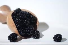 A big scoop of juicy, ripe blackberries stock photos