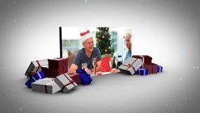 Big screen christmas animation stock video