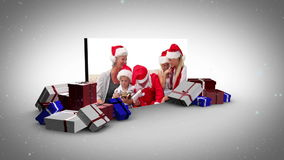 Big screen christmas and familys animation stock footage
