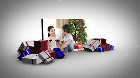 Big screen with familys inside animation Royalty Free Stock Image