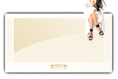 Big screen and girl Royalty Free Stock Images