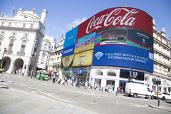 Big screen showing adverts and rio 2016 in piccadilly circus Stock Image