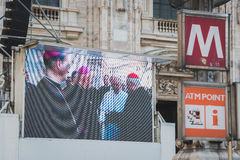 Big screen showing His Holiness Pope Francis Stock Photography