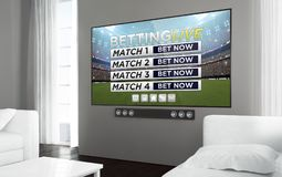 Big screen television live betting. Big screen smart tv at living room with sports event live betting app on screen. 3d rendering Royalty Free Stock Photos